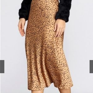 Spotted Flare Midi Skirt